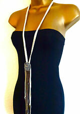 TOPSHOP BEAUTIFUL TASSEL AND CHAIN SPIKE SCARF NECKLACE LARIAT STATEMENT NEW
