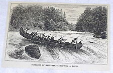 1878 small magazine engraving ~ SKETCHES OF MANITOBA - SHOOTING A RAPID ~ canoe