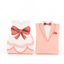 100 Pcs Pink Bride Groom Tuxedo Dress Gown Wedding Favor Candy Box Gift UKSK