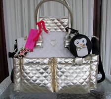 Betsey Johnson Downtown Diamond Quilt Diaper Bag Gold Weekender Tote NWT