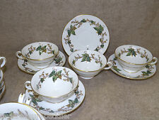 Vintage Minton England Lothian 4 cup and saucer sets Green Ivy Vines