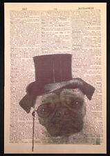 Steampunk Pug Dog Print Vintage Dictionary Page Wall Art Picture Animal Hipster