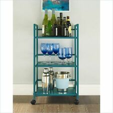 Rolling Storage Cart Bar Carts On Wheels Home Office Shelf Mobile Utility Teal