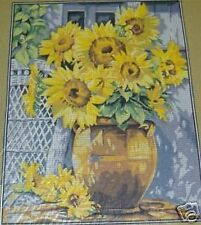 "Sunflowers in Clay Pot Tapestry/Needlepoint Canvas - 14.75"" x 18.75"""