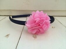 Navy Blue Satin Girls Hairband Headband Alice Band with Baby Pink Flower