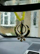 Gold Plated Punjabi Sikh Singh Large Khanda Pendant Car Hanging in Yellow Beads