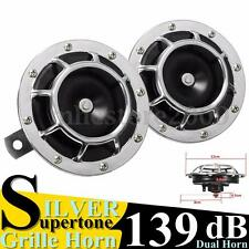 Pair Universal 139DB Chrome Grille Super Tone Loud Compact Electric Horn Kit