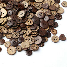 50pcs Brown Coconut Shell 2 Holes Buttons Wooden Sewing Scrapbooking 18mm Hot