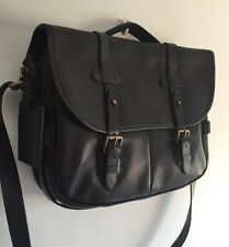 POLO RALPH LAUREN Black Leather Messenger Bag RRP £435