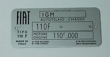 CLASSIC FIAT 500 F CHASSIS PLATE - HIGHEST QUALITY