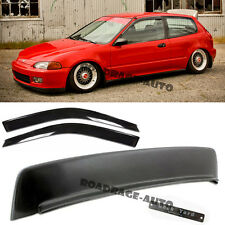 For 92-95 Civic 3Dr BYS Style Rear Roof Wing Spoiler Kit+ Emblem + Window Visor