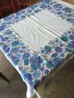 Vintage Tablecloth Floral Blue & Purple Posies Mid Weight Linen Flowers 52 x 45