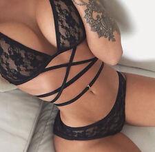 Women's Sexy Lingerie Lace Bra Dress Underwear Sleepwear Black Babydoll G-string