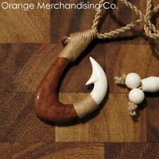 Hawaiian Fish Hook Bone & Koa Wood Necklace Maori Hei Matau Zealand Pendant A5