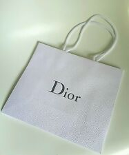 NEW DIOR THICK TEXTURED WHITE PAPER BAG small size 27 x 23 cm
