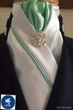 HHD White Satin Dressage Pre-tied Show Stock Lime  & Silver Piping Free Pin