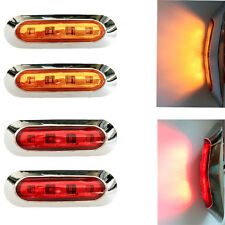 4x 12v 24v Amber/Red 4-LED Side Marker Tail Light Lamp Clearance Trailer Truck