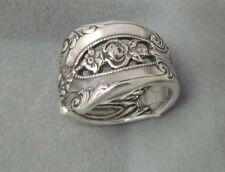Sterling Silver Oxidized Spoon Adjustable Ring,Vintage Empire Floral Design, 925