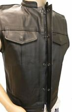SOA Men's Anarchy Leather Motorcycle Biker Vest (concealed carry for firearms)