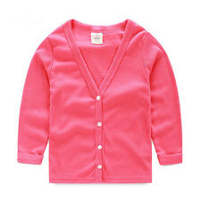 Autumn Kids Boys Girls 100% Cotton Children Sweaters Knit Cardigan Tops Coat