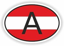 A AUSTRIA COUNTRY CODE OVAL WITH AUSTRIAN FLAG STICKER bumper decal car helmet