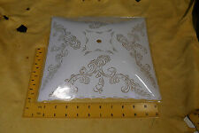 "Vintage Square White Clear Paisley Glass Ceiling Light Globe Shade 11 3/8"" ONS"