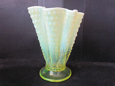 Vtg Fenton Vaseline Pressed Art Glass Hobnail Fluted Fan Vase Blacklight Tested