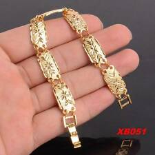 """Fashion 18K Yellow Gold Plated Engraving Link Cuff ChainAA Bracelet 7.5"""""""