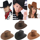 Men Women Kids Boys Girls Hats Caps Western Cowboy Cowgirl Child Suede Wide Brim