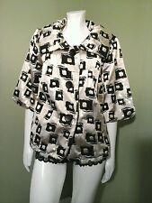 Weavz Short Sleeve Button Down Cream Metallic & Black Jacket Retails $98~Size M