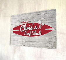 Personalised Wood Effect Surf Shack Beach Bar sign A4 metal plaque Shabby Chic
