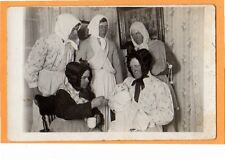 Real Photo Postcard RPPC Five Men in Drag Crossdressing with Cloth Doll Gay Int