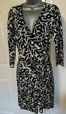 DRESS 14 42 MEDIUM KNIT STRETCH LEAVES PRINT BLACK BEIGE COTTON PHASE EIGHT