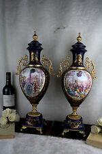 PAIR XL Cobalt blue porcelain victorian romantic scene Vases sevres manner repro
