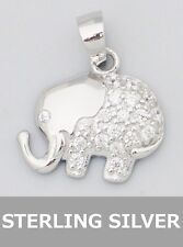 Elephant Pendant Sterling Silver Pave Rhinestone Crystals Necklace Charm Luck