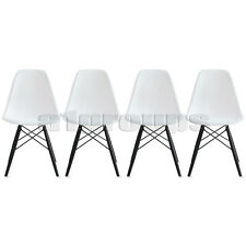 Set of 4 White Arm-less Plastic Molded Side Dining Seats Dark Wood Wooden Leg