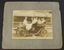Atlantic City Early 1900's Cabinet Photo Of Seven People In an Early Automobile