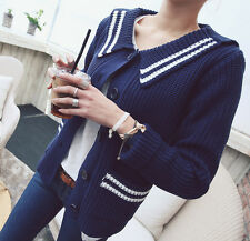 Women fashion Sailor style Sweater Cardigan Navy size S/M