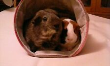 Chucklebunnies Guinea pig house bed for 2, snug comfy red/brown/white fleece