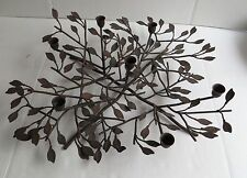 Brown Iron Metal Taper 7 Candle Holder Branches Leaves Table Centerpiece 20""