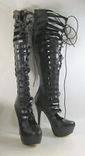 "New Blacks 6""Stiletto high heel front lace up sexy over the knee boots Size  8.5"