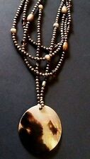 BOHO Brown Wood Bead Necklace Mother Of Pearl Shell Pendant Leopard Dot 4 Strand