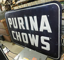 Old Metal/Steel Purina Chows Feed Sign Rare Dog Horse Cow Chicken Hog/Pig, 48x72