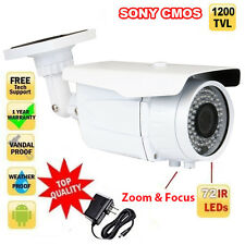 "1200TVL 1/3"" Sony CMOS Bullet Outdoor Security Camera 2.8~12mm 72 IR (Free AC)"