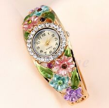 Fashion Women's Bangle Crystal Flower Bracelet Analog Quartz Watch Wrist Watch