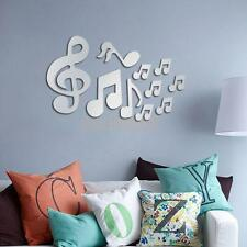Music Notes 3D Mirror Removable Decal Mural Wall Sticker Home Decor Silver