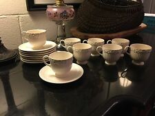 Set of 8 Vintage Wedgwood Queensware Cream on Cream Demitasse Cups Saucers 1922