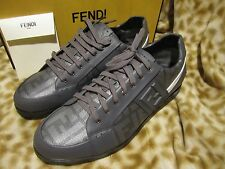 FENDI MENS LEATHER GRAY SNEAKER SHOES 8 /US 9 D NEW IN BOX!!!