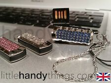 Señoras/Girls Azul Efecto de Cristal Bling 8GB USB Flash Drive/Pluma Memory Stick