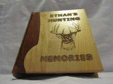 """Engraved Wood Personalized Photo Album """"Hunting Memories"""" - Large"""